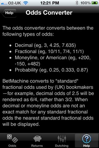 BetMachine help screenshot